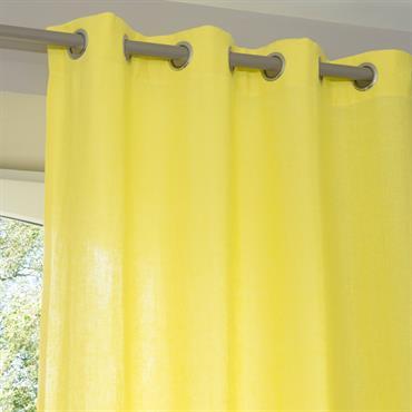 Rideau à œillets en lin lavé jaune 110 x 250 cm
