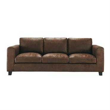 Canapé 3 places en suédine marron Kennedy