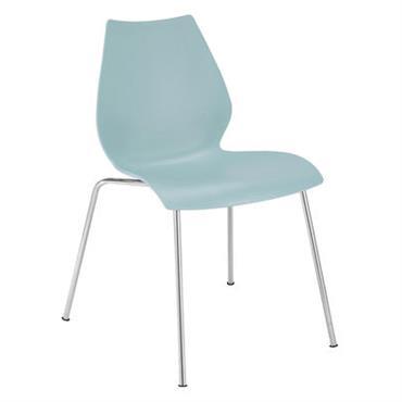 Chaise empilable Maui / Plastique & pieds métal - Kartell bleu clair