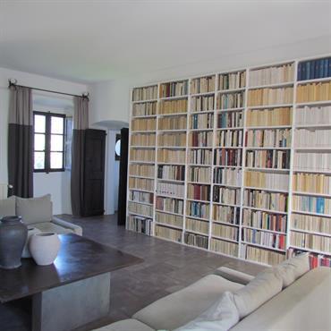 Salon contemporain littéraire, grande bibliothèque. Camaïeu de gris