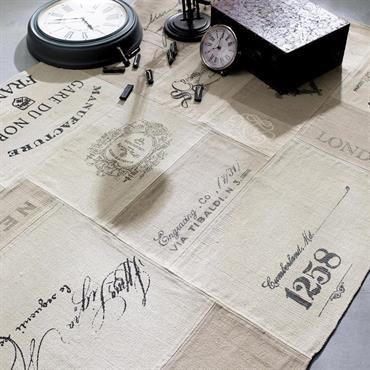Tapis imprimé en coton beige 140 x 200 cm MANUFACTURE