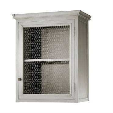 Meuble haut de cuisine ouverture droite en bois d'acacia gris L 60