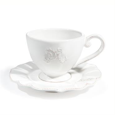 Tasse et soucoupe à café en faïence blanche BOURGEOISIE