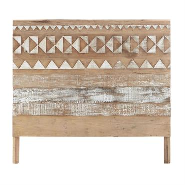 Originale avec ses motifs ethniques, cette tête de lit 140 mettra une pointe d'exotisme dans votre chambre. Entièrement réalisée en bois recyclé, cette tête de lit trouvera simplement sa place ...