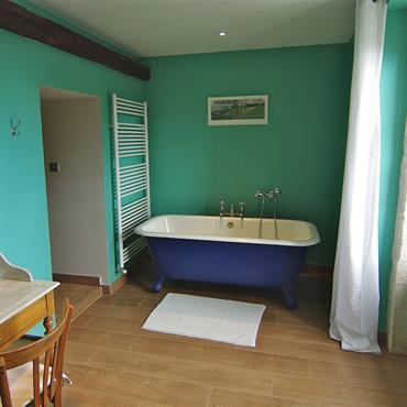 Salle de bain turquoise avec baignoire îlot