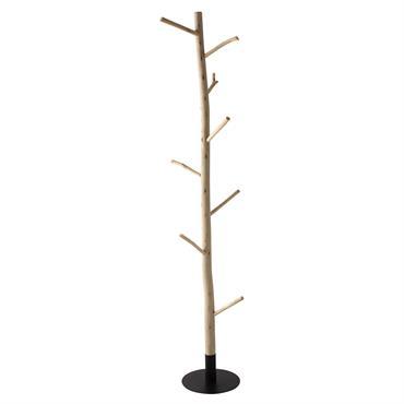 Porte-manteau tronc d'arbre en eucalyptus et métal noir