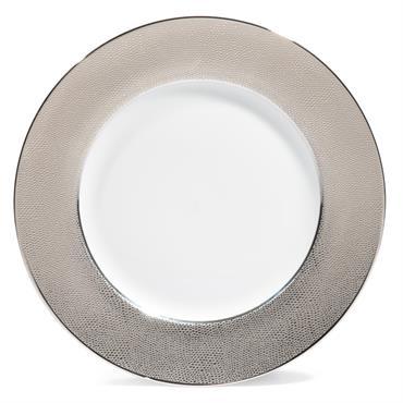 Assiette plate en porcelaine argent D 27 cm ÉCAILLE SAUVAGE