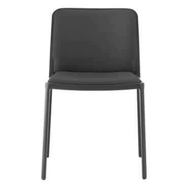 Chaise rembourrée Audrey Soft / Structure laquée - Kartell noir en tissu