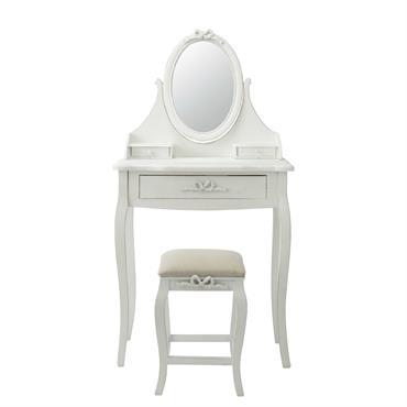 Avec son miroir orientable en forme de médaillon, cette coiffeuse blanche CHARLOTTE sera idéale pour vous coiffer ou vous maquiller. De couleur blanche, cette coiffeuse de style classique s'accompagne d'un ...