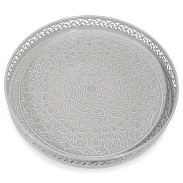 Plateau en métal gris D 31 cm KAOMA