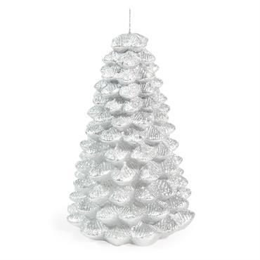 Bougie de Noël sapin argentée