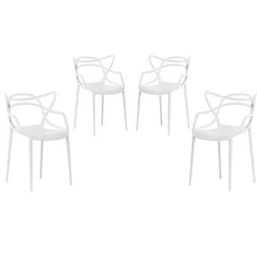 Fauteuil empilable Masters / Lot de 4 - Kartell Blanc en Matière plastique