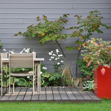 Petit jardin avec terrasse en bois aménagée d'une salle à manger d'extérieur et agrémentée de plantations ainsi que d'une jardinière design rouge