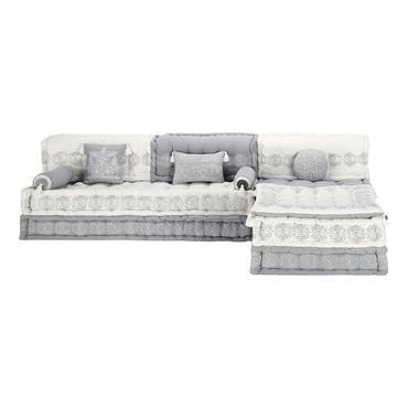 Banquette d'angle modulable 6 places en coton grise et blanche Goa