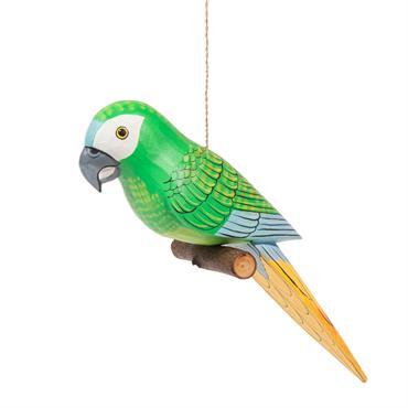 Statuette perroquet à suspendre en bois H 9 cm AMAZONE
