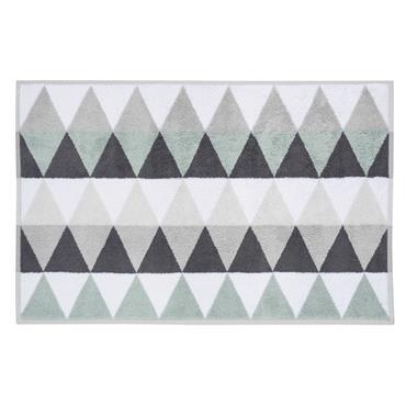 Tapis de bain en coton blanc/gris 50 x 80 cm