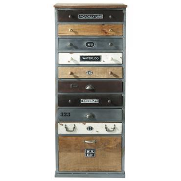 Vous recherchez un petit meuble de rangement moderne et tendance ? Découvrez le semainier Lazare. Ce meuble de style industriel mixe le bois de manguier au métal vieilli avec brio. ...