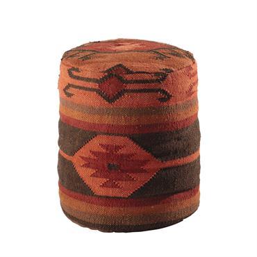 Pouf ethnique en laine et jute ocre OUZOU