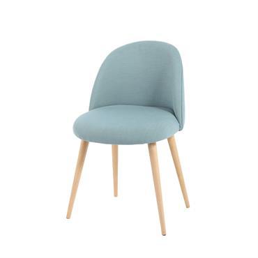 Chaise vintage bleue et bouleau massif Mauricette