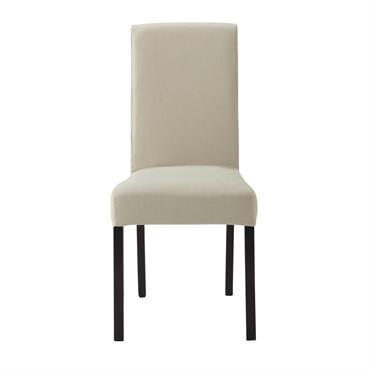 Housse de chaise en coton beige mastic 47x57 Margaux