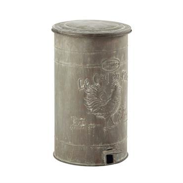 Poubelle en métal effet zinc H 46 cm LEONTINE