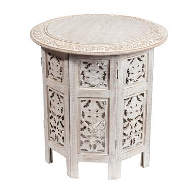 Bout de canapé sculpté blanchi L 46 cm SARANYA