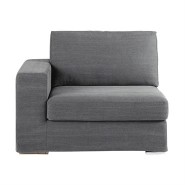 Accoudoir gauche de canapé en coton gris Anvers
