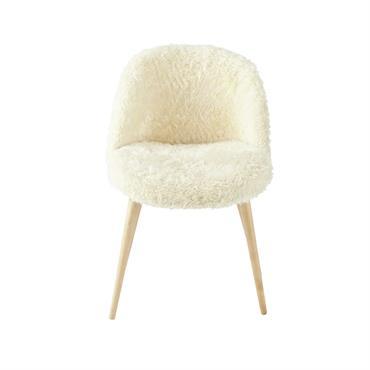 Chaise vintage en imitation fourrure ivoire et bouleau Mauricette