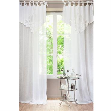 Rideau à nouettes en lin blanc 140x300