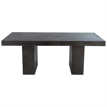 Table de jardin en magnésie effet béton anthracite 8/10 personnes L200 Mineral