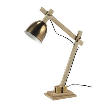 Comme si elle sortait tout droit d'une brocante, la lampe FOREST passera aussi bien du bureau au chevet. Mêlant le bois et le métal bronze, cette lampe de bureau diffusera ...