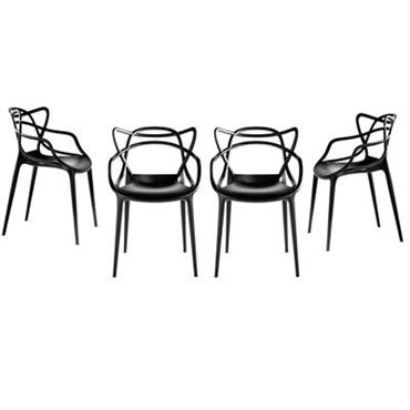 Fauteuil empilable Kartell Design Noir Matière plastique L 57 cm x Prof. 47 cm x H 84 cm - Assise : H 48 cm Ce lot de 4 fauteuil Masters ...