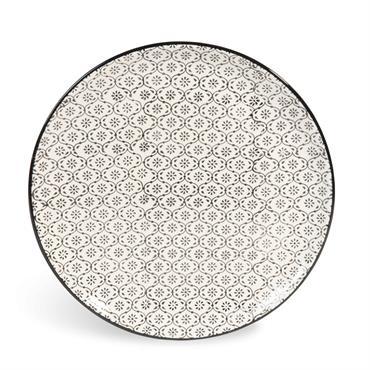 Assiette plate en faïence blanche motifs graphiques noirs