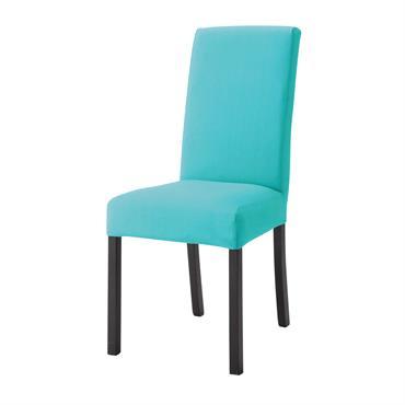 Housse de chaise en coton turquoise Margaux