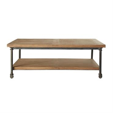 Table basse à roulettes en manguier et métal L 135 cm Archibald