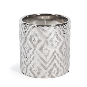 Bougie en céramique argentée H 10 cm IKAT