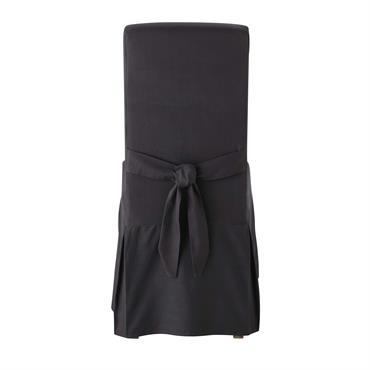 Housse de chaise avec nud en coton anthracite Margaux