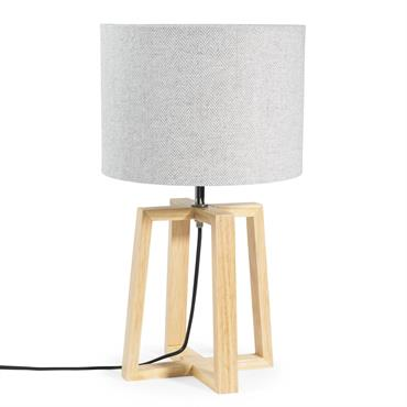 Lampe en bois et tissu gris H 44 cm HEDMARK
