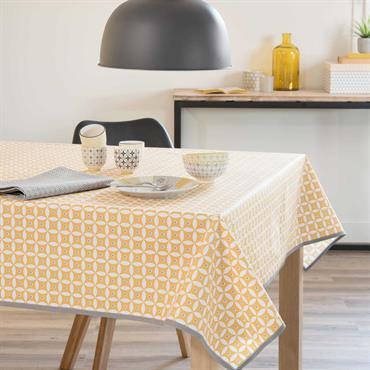 Nappe enduite en coton jaune 140 x 300 cm MALVEIRA