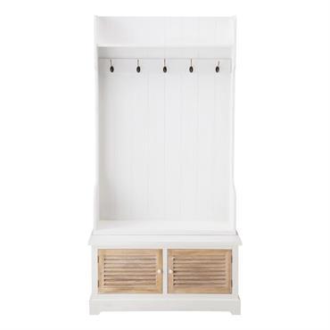 Meuble d'entrée avec 5 patères en bois blanc L 96 cm Ouessant