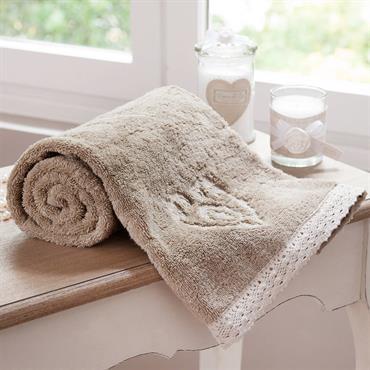 Drap de bain en coton beige 100x150 CAMILLE