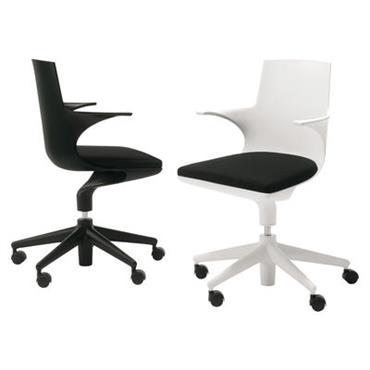 Fauteuil à roulettes Spoon Chair / Rembourré - Kartell gris en matière plastique