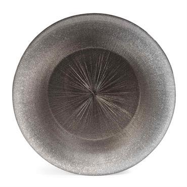 Assiette plate en verre gris D 28 cm GLITTER