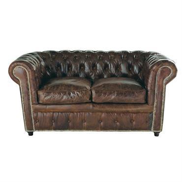 Canapé capitonné Chesterfield 2 places en cuir marron Vintage