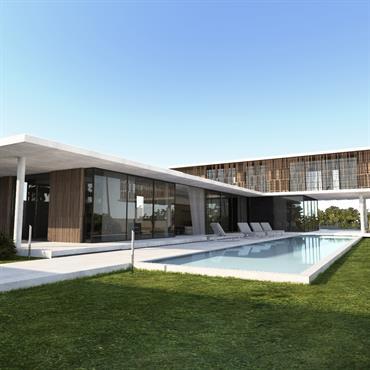 Villa contemporaine en bois et béton avec piscine et jardin