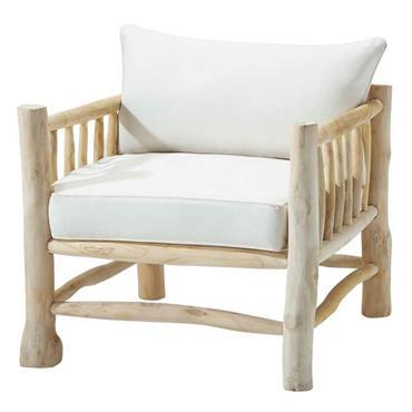 Fauteuil en teck et coton ivoire Rivage