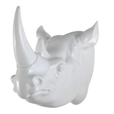 Déco murale tête de rhinocéros en résine blanche L 45 cm BAAKO
