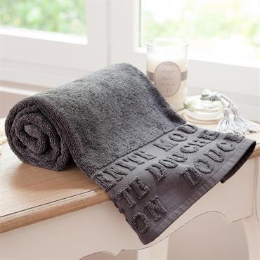 Drap de bain en coton grise 70x140 MODERN