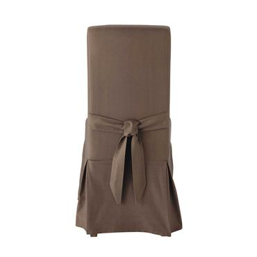 Housse de chaise avec nud en coton taupe Margaux