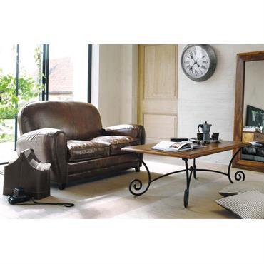 Canapé vintage 2 places en cuir marron Oxford